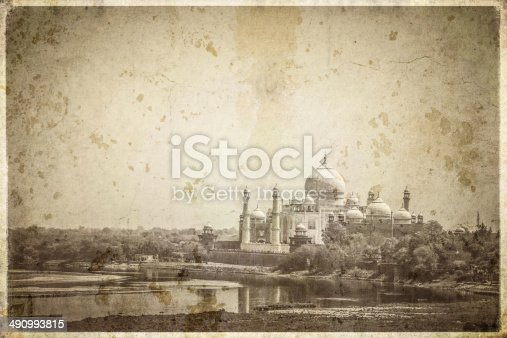 The Taj Mahal in Agra, India, processed with an old postcard feel.