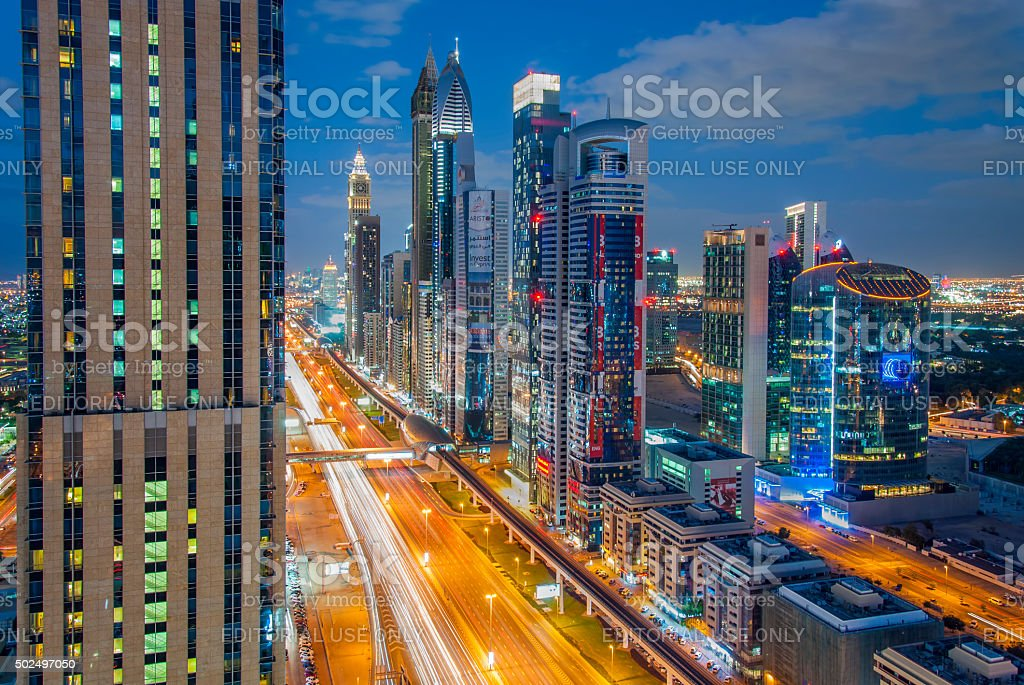 The tallest Skyscrapers towers of Dubai. stock photo