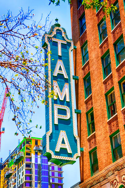The Tampa Theater sign on Franklin Street in downtown Tampa FL stock photo