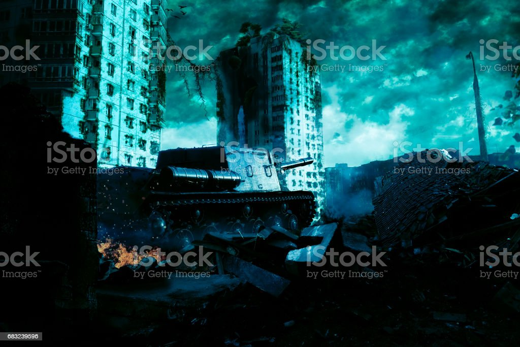The tank in the ruins of the city. Apocalyptic landscape 免版稅 stock photo