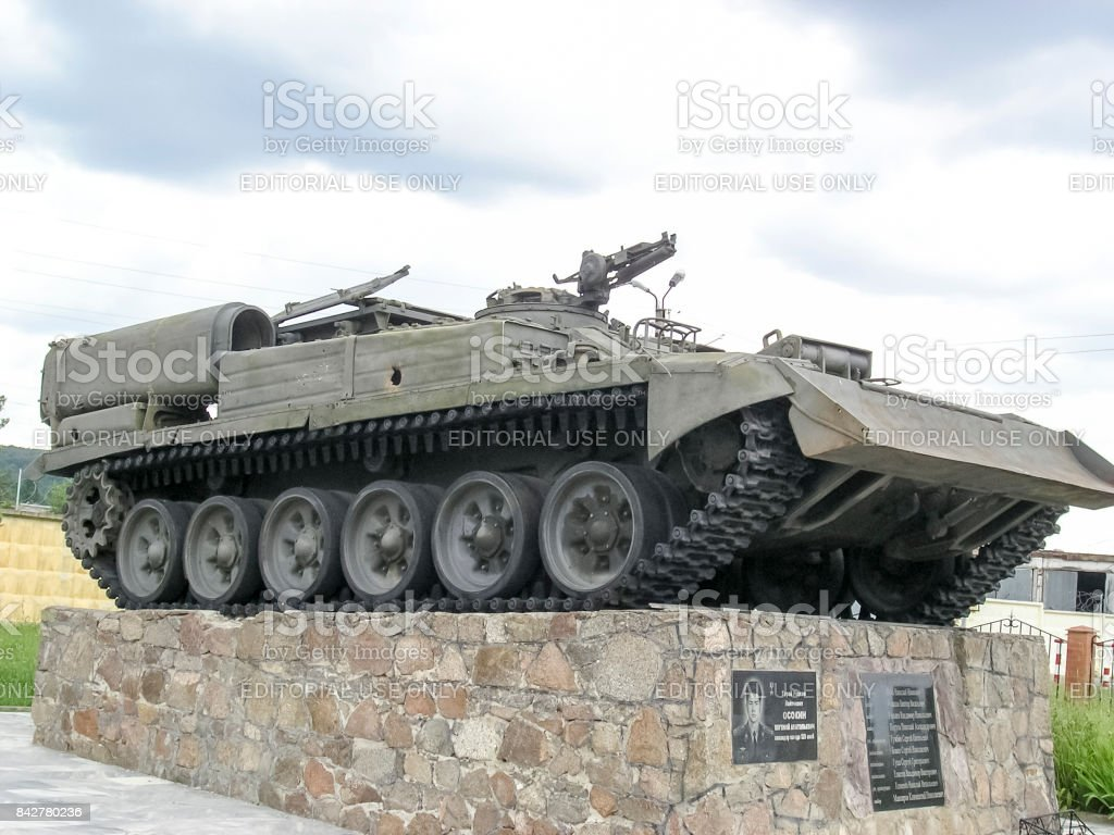 the tank. tank. the militatank. the military monument, the tank which visited fight stock photo