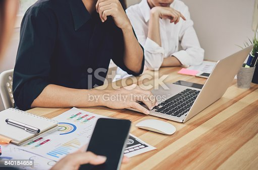 istock The team that helps brainstorm work. To achieve the goal, Concept  teamwork that has the technology to make it faster. 840184658