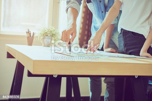istock The team that helps brainstorm work. To achieve the goal, Concept teamwork that has the technology to make it faster. 842685326