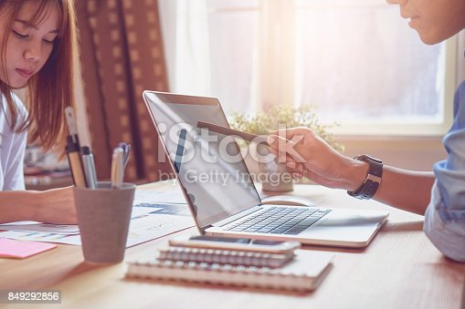 istock The team that helps brainstorm work. To achieve the goal, Concept teamwork that has the technology to make it faster. 849292856