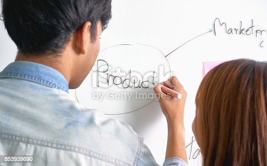 istock The team that helps brainstorm work. To achieve the goal, Concept teamwork that has the technology to make it faster. 853939690