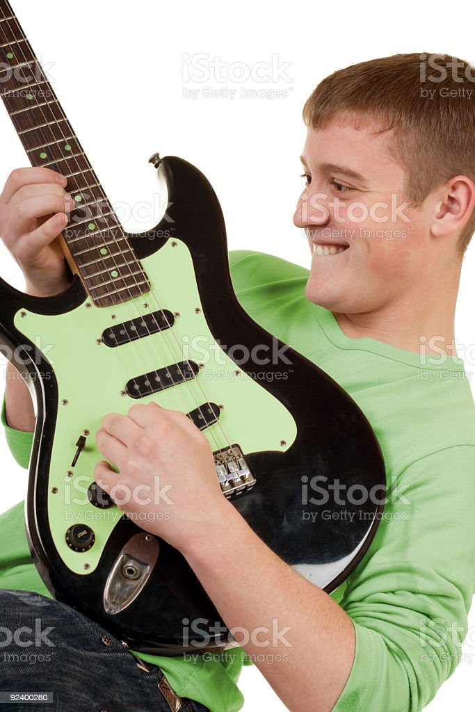The teenager with an electroguitar royalty-free stock photo