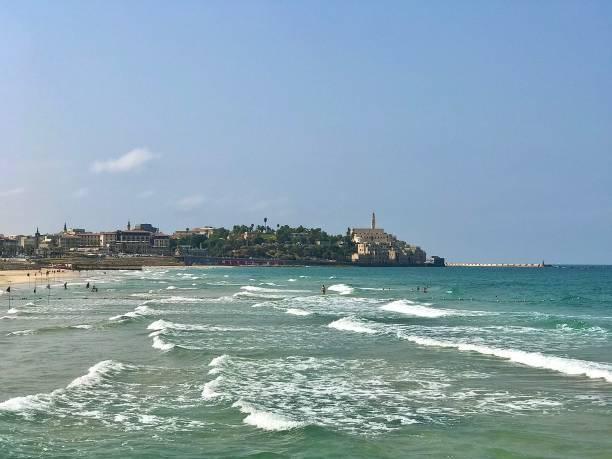 The Tel Aviv-Yafo coastline in Israel. stock photo