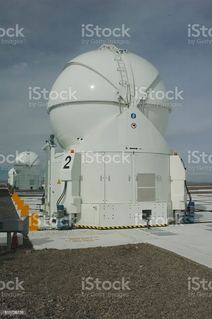 The telescopes of the Paranal Observatory stock photo