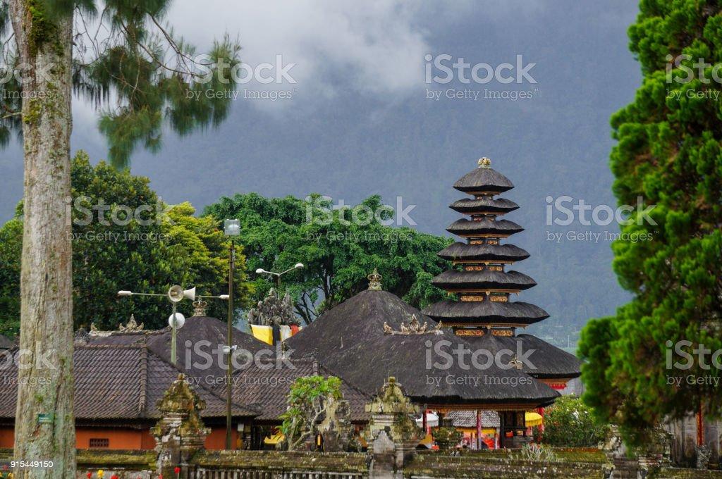 The temple at lake Beratan in Bali, Indonesia stock photo