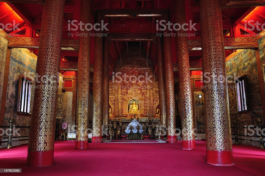 The temple hall. Phra-singha royalty-free stock photo