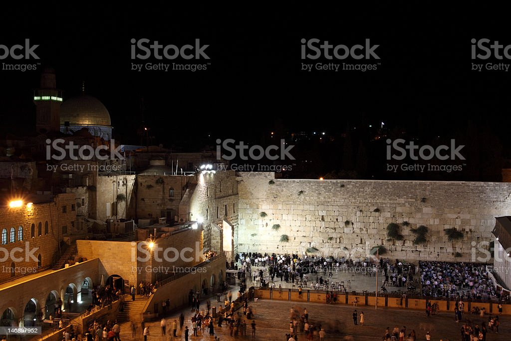 The Temple Mount in Jerusalem at Night royalty-free stock photo