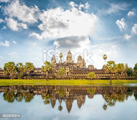 The Temple Of Angkor Wat Reflected In The Lake Near Siem Reap In Cambodia.