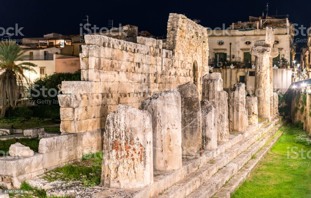 The Temple of Apollo, an ancient Greek monument in Syracuse, Sicily, Italy stock photo