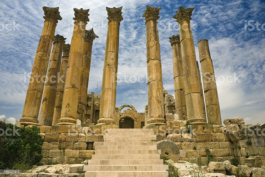 The Temple of Artemis in Jerash stock photo
