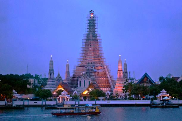The Temple of Dawn at dawn, Bangkok stock photo