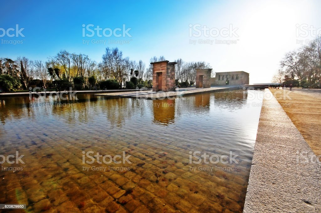 The Temple of Debod (Templo de Debod), an ancient Egyptian temple that was dismantled and rebuilt in Madrid, Spain stock photo