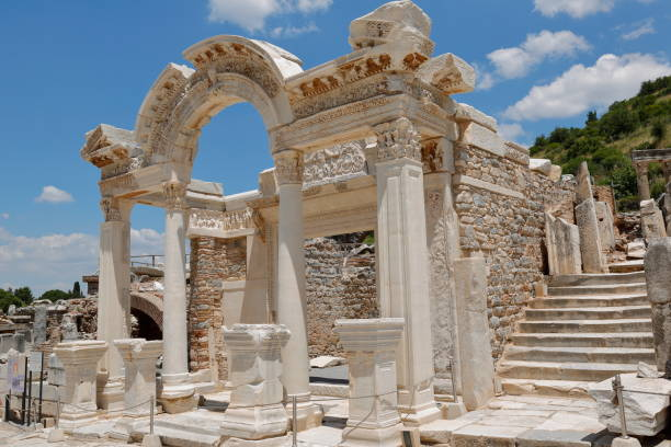 The Temple of Hadrian in Ephesus Ancient City, Turkey It was built in the 4th century BC to honor the Roman Emperor Hadrian. ephesus stock pictures, royalty-free photos & images