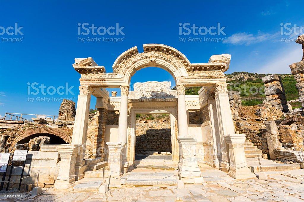 The Temple of Hadrian of Ephesus Ancient City stock photo