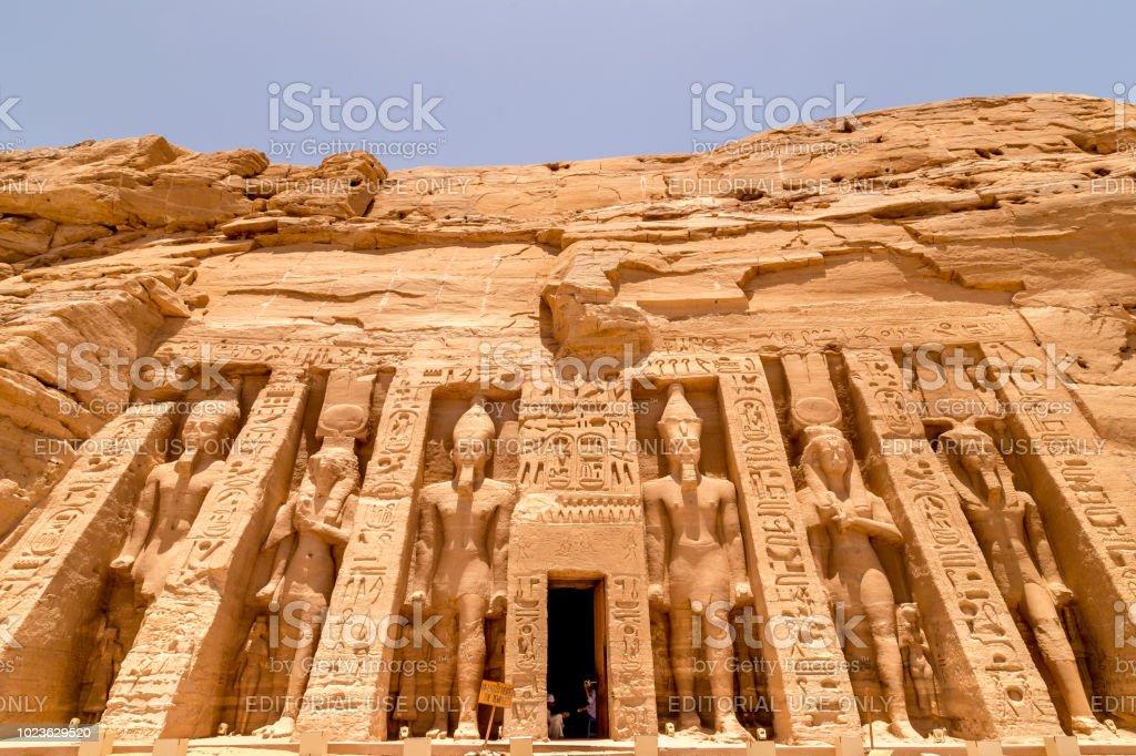 The temple of Hathor and Nefertari, dedicated to the goddess Hathor and Ramesses II's queen, Nefertari, at Abu Simbel, Egypt. stock photo