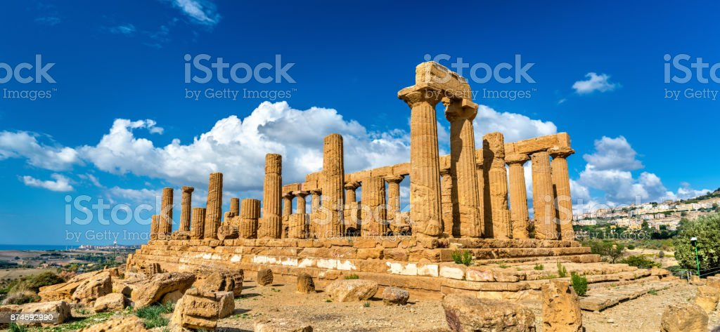 The Temple of Juno in the Valley of the Temples at Agrigento, Sicily stock photo