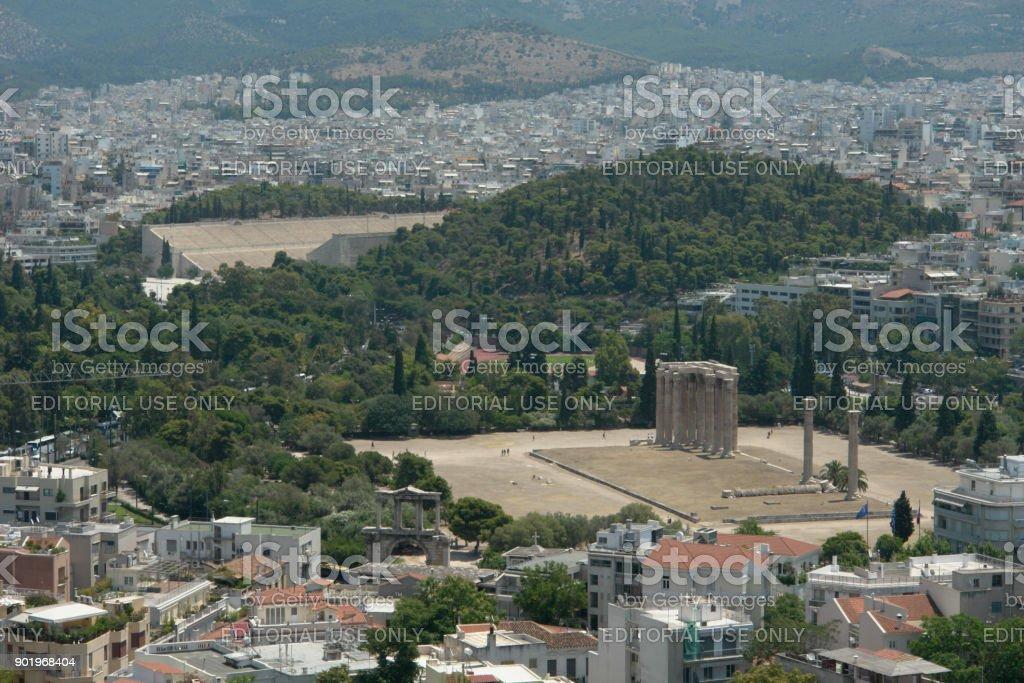 the Temple of Olympian Zeus, Athens Greece stock photo