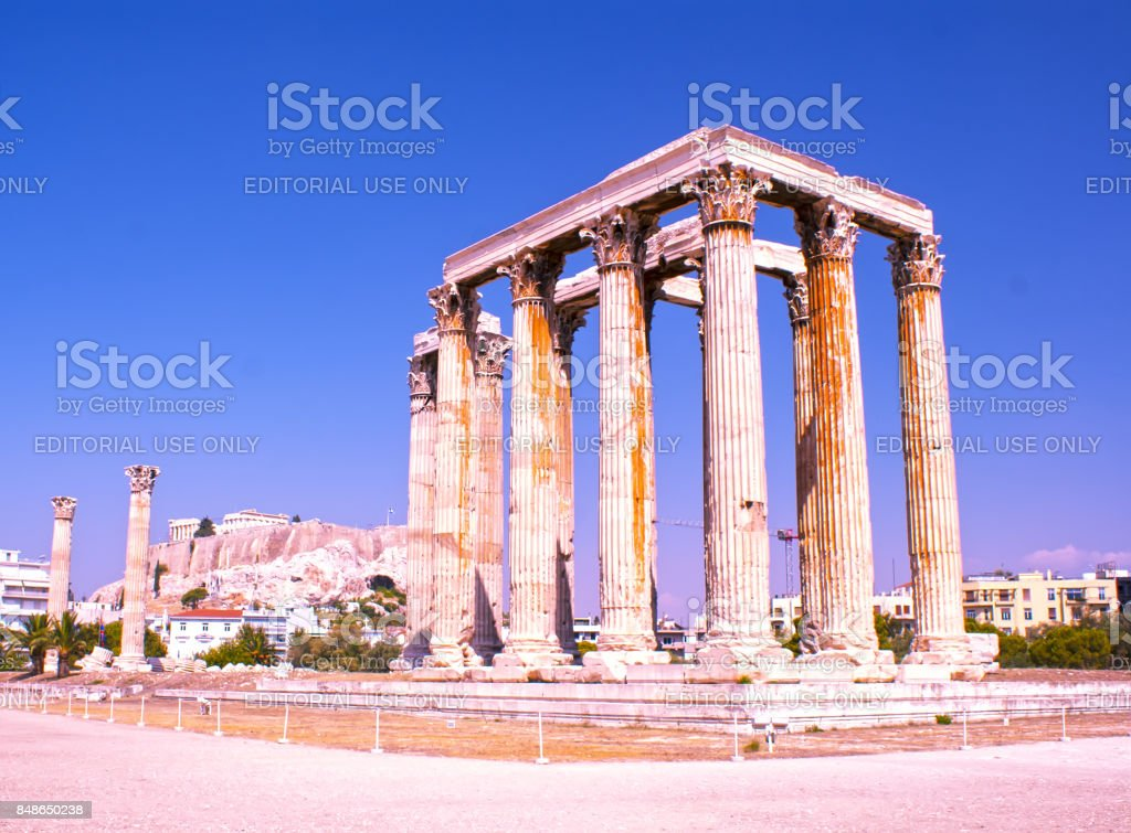 The temple of Olympian Zeus in Athens. A historical place of ancient civilization. Tourist attraction of Europe. stock photo