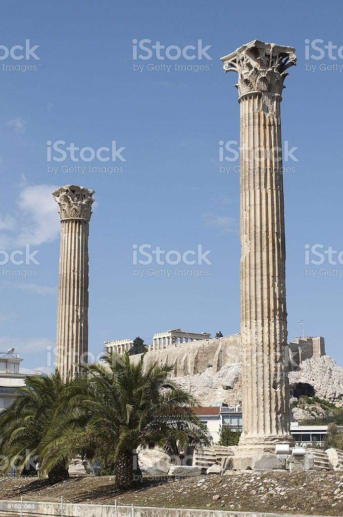 The Temple of Olympian Zeus royalty-free stock photo