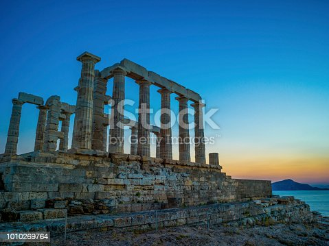 Sunset at the Temple of Poseidon in Sounion, Greece