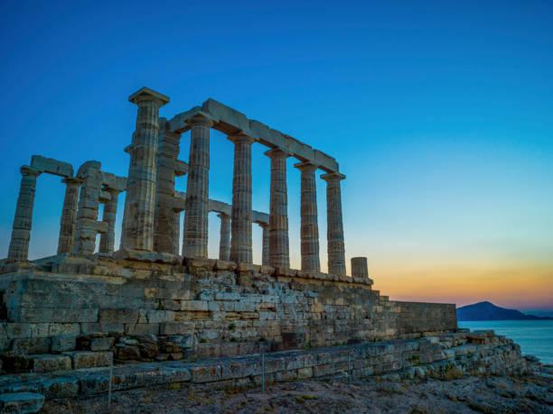 poseidon tapınağı - harabe stok fotoğraflar ve resimler