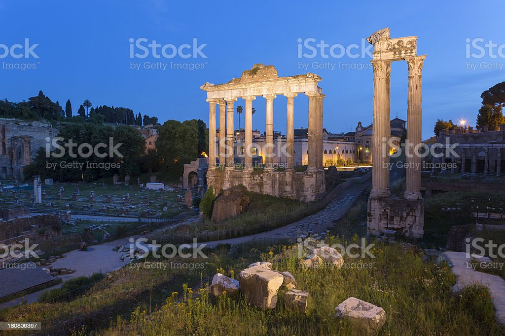 The Temple of Saturn by night at Roman Forum, Rome royalty-free stock photo