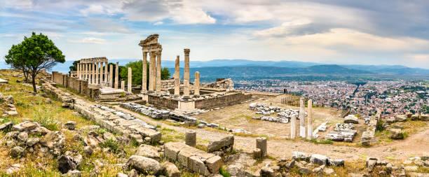 The Temple of Trajan in Pergamon, Turkey stock photo