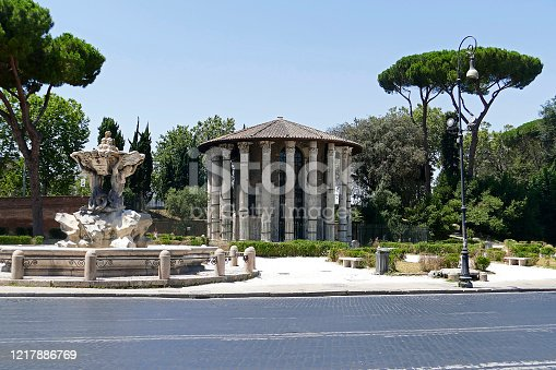 Famous round temple from the 2nd century in the ancient Rome