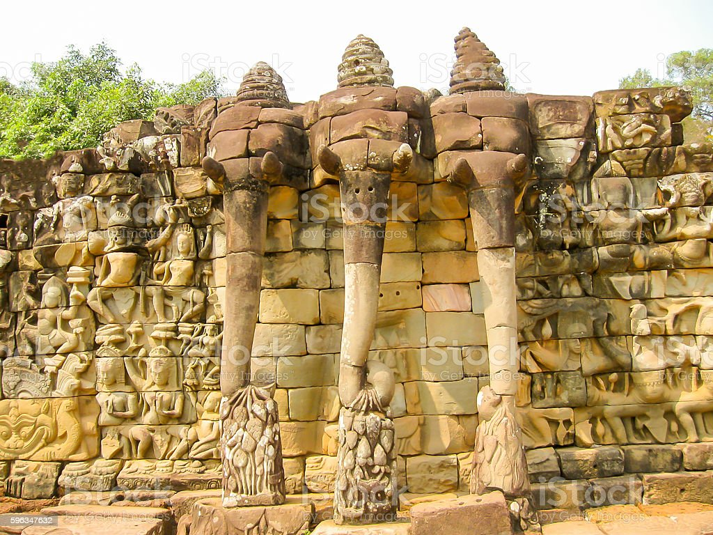 The Temple Terrace of Elephants in the Angkor near the royalty-free stock photo