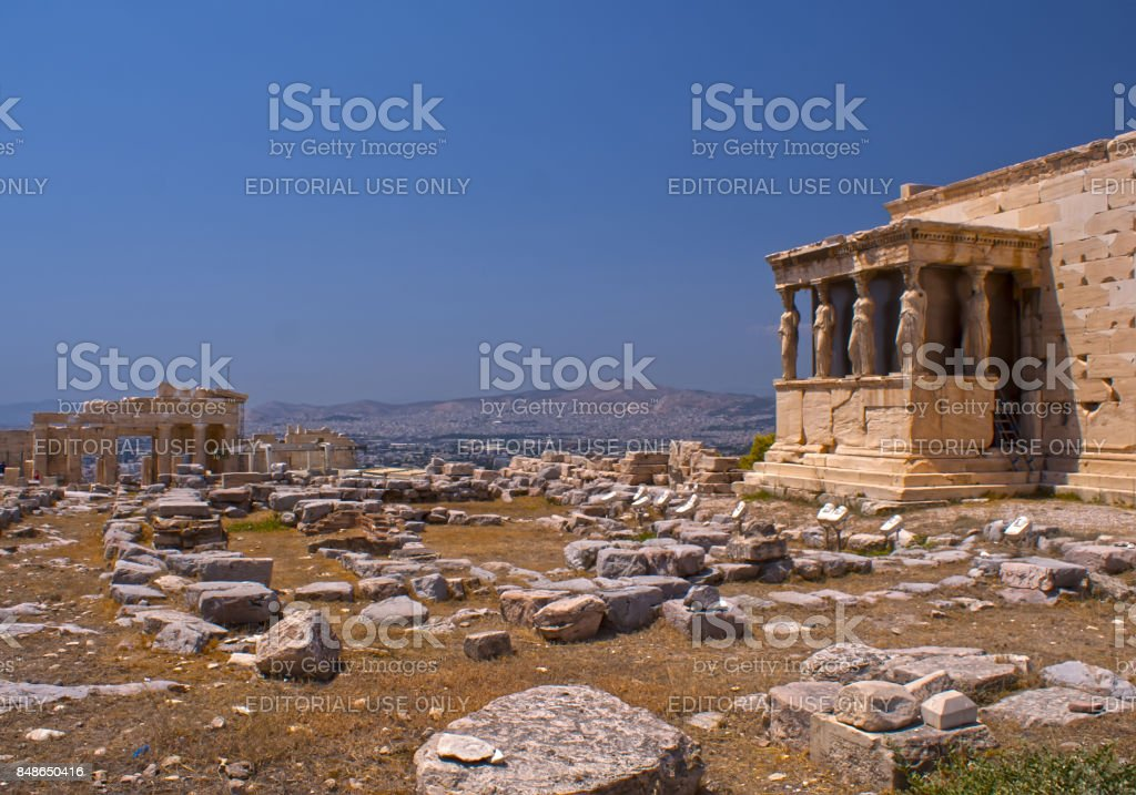 The temple with the caryatids in Athens. A historical place of ancient civilization. Tourist attraction of Europe. stock photo