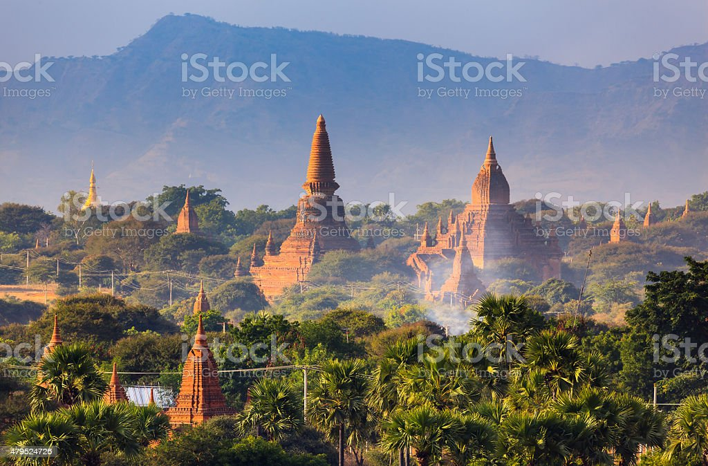 The Temples of bagan at sunrise, Bagan, Myanmar stock photo
