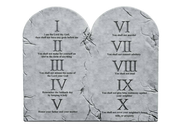 The Ten Commandments,  3D rendering isolated on white background stock photo
