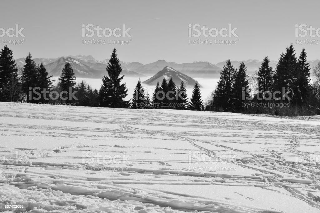 The Tennen mountain range with the mountain Schlenken over high fog, in winter. Salzburg, Austria stock photo