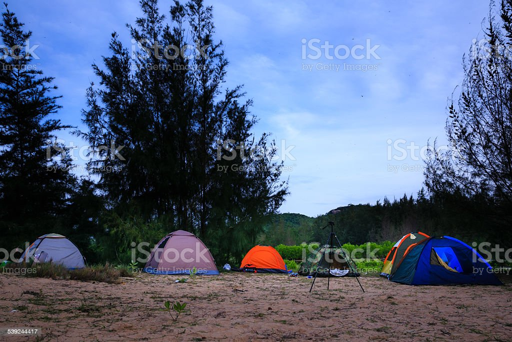 The tents on sand dunes in night royalty-free stock photo