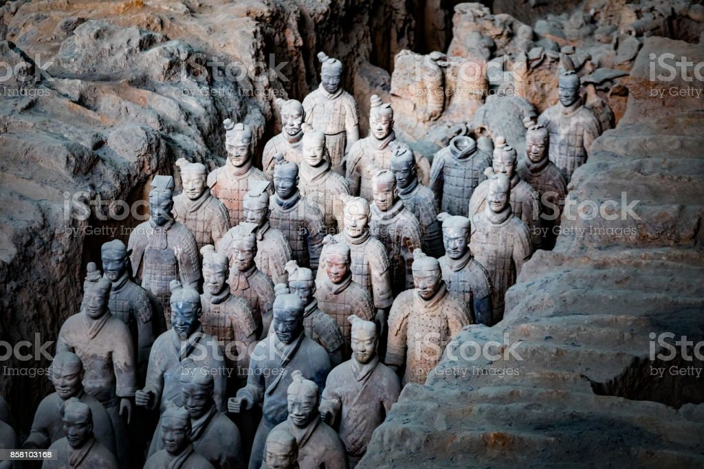 The Terra Cotta Warriors in xi an china stock photo