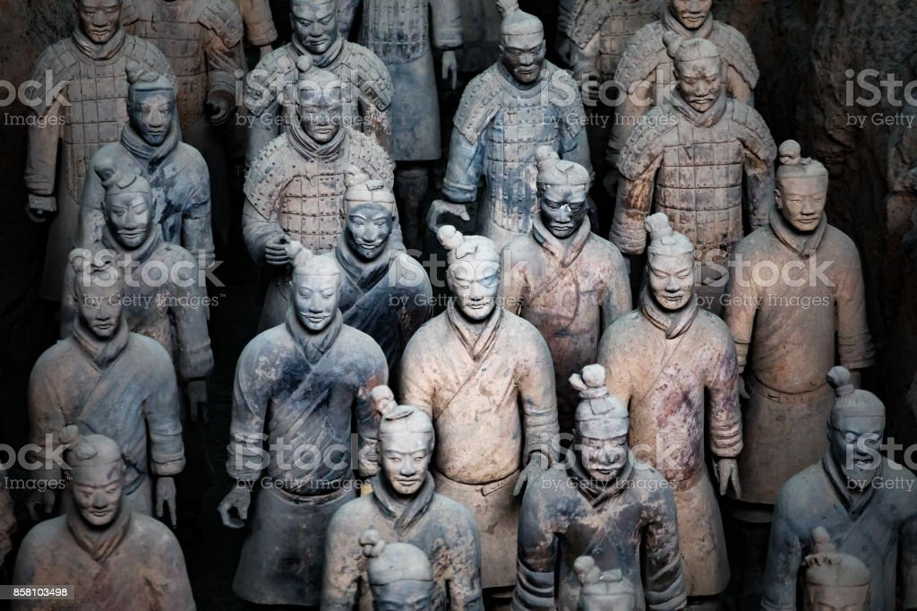 The Terra Cotta Warriors in xi an china stock photo