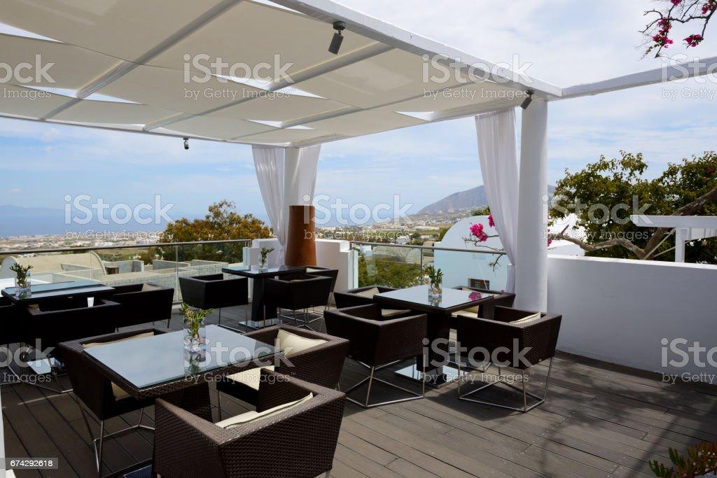 The Terrace Of Outdoor Restaurant Santorini Island Greece Stock Photo Download Image Now Istock