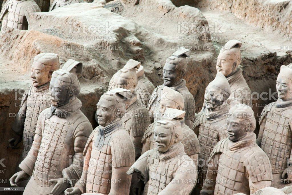 The Terracotta Army or Terra Cotta Warriors buried in Qin Shi Huang Emperor's tomb, Xian stock photo