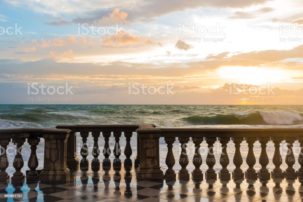 The Terrazza Mascagni is a belvedere in Leghorn, Italy stock photo