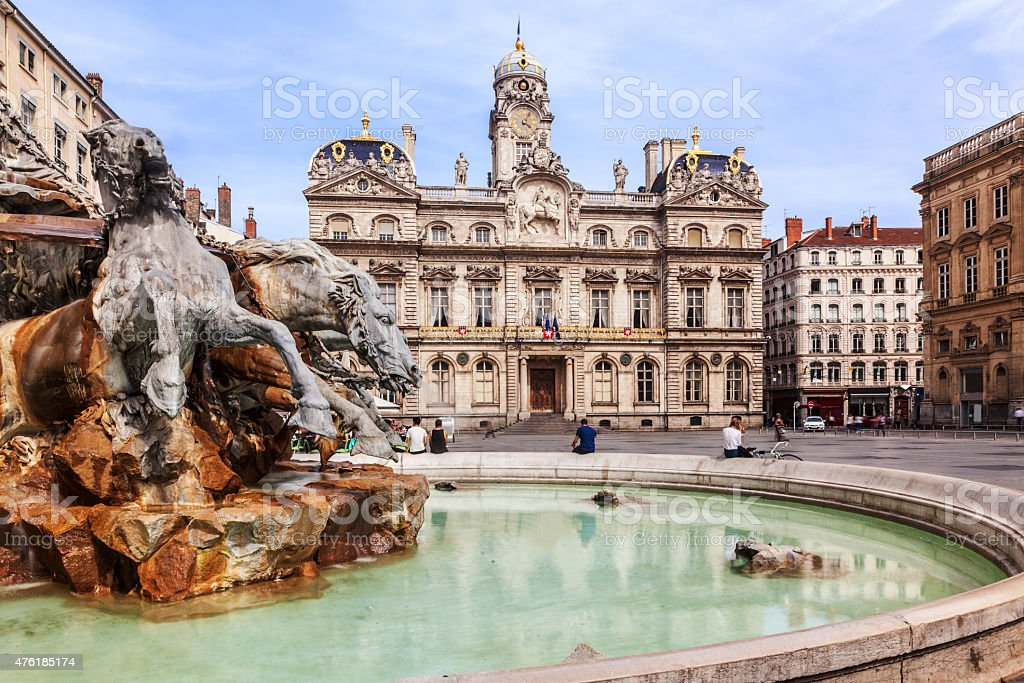 The Terreaux square with fountain in Lyon city stock photo