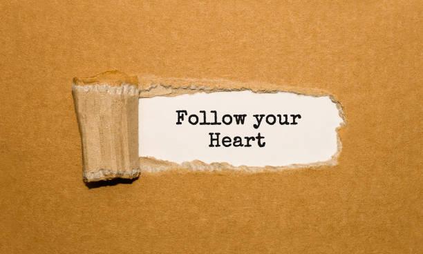der text follow your heart erscheint hinter zerrissenes papier braun - herz zitate stock-fotos und bilder