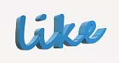 istock the text of word ''like'' blue color . 3d illustration 1220462603