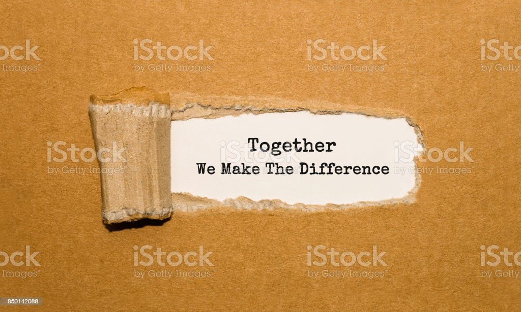 The text Together We Make The Difference appearing behind torn brown paper – zdjęcie