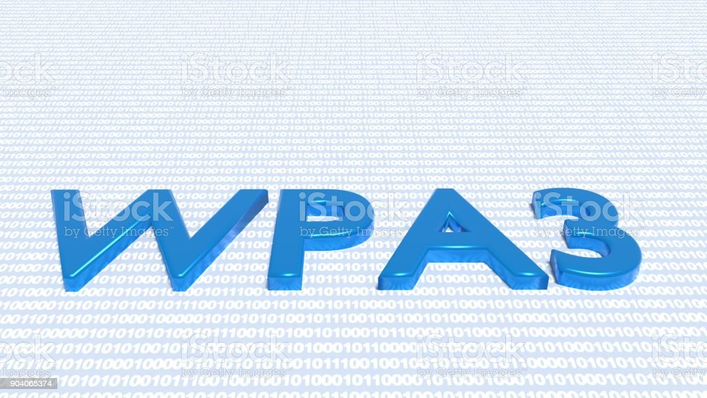 The text WPA3 on binary textured floor cybersecurity concept stock photo