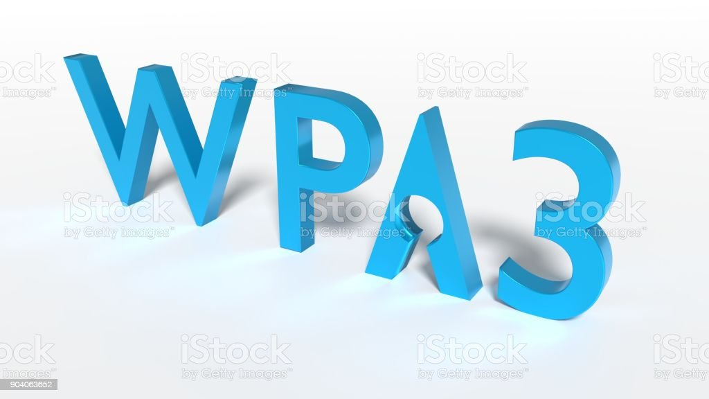 The text WPA3 where the A has a keyhole cybersecurity concept stock photo