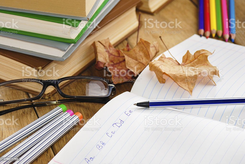 The textbook with pen royalty-free stock photo